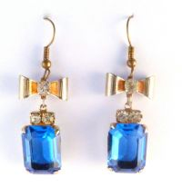 Vintage Large Bow And Blue Rhinestone Drop Earrings.